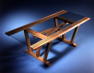 Cross Table, glass top