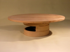 The Two and a Half Ring Low Table with elliptical Elm Top